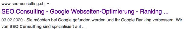 Snipet von SEO Consulting GmbH - Google Suchresultat - wichtig bei der Suchmaschineoptimierung